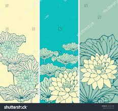 set asian style floral bookmarks lotus stock vector 435831748