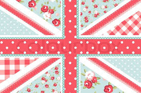 cute british flag in shabby chic floral style stock vector