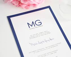 modern wedding invitations in blue with monogram u2013 wedding invitations