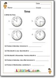 telling time worksheet math for grade 1