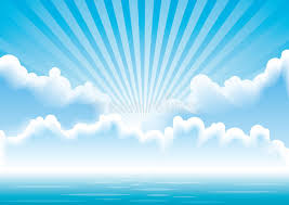 vector seascape with clouds and sun rays stock vector illustration