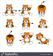 illustration of cute tiger cartoon set
