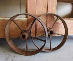 Wagon Wheel Rocking Chair Antique Cast Iron Wagon Wheels Rustic Country Western Primitive