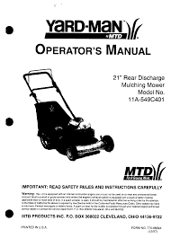 yard man lawn mower 11a 549c401 user guide manualsonline com