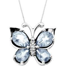 necklace butterfly pendant images Aquamarine diamond accent butterfly pendant