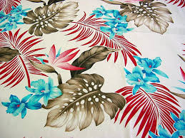 tropical fronds and orchids cotton fabric david textiles brown