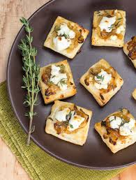 cheesy onion puff pastry bites recipe goat cheese onions and