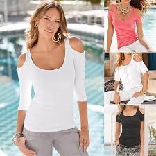 open shoulder blouse casual slim neck open shoulder blouse t shirt