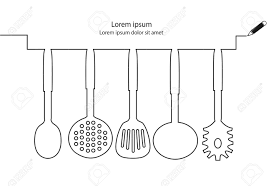 kitchen utensils continuous line design vector royalty free