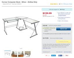 Best Buy Computer Desks Best Buy L Shaped Corner Computer Desk Silver Online Only For
