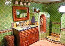 bathroom using mexican tiles by kristiblackdesigns com kristi