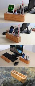 desk phone stand organizer wood pen pencil holder cell phone holder stand wooden desk organizer