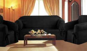 Corduroy Loveseat 3 Pieces Solid Black Suede Corduroy Couch Sofa Cover Loveseat