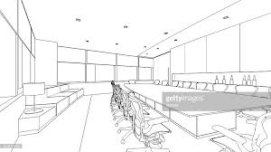 outline sketch of a interior meeting room stock illustration