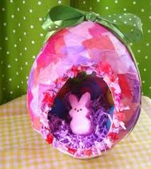 Easter Egg Decorating Tissue Paper by Diy Easter Basket With A Balloon String Liquid Starch Tacky