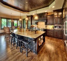 Contemporary Open Floor Plans Kitchen Room Design Dark Stained Wood Ceiling Kitchen