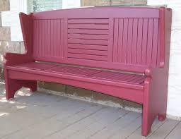 exterior red wooden porch bench with arm and tall back rest
