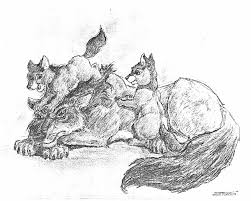 wolf and cubs by scottrobertson on deviantart