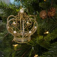 4 metal pearl encrusted gold crown ornament 20420 craftoutlet