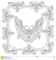 butterfly abstract mandala coloring page stock illustration