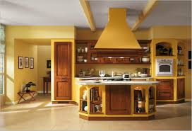 modern yellow kitchen interior design with cool wall paint