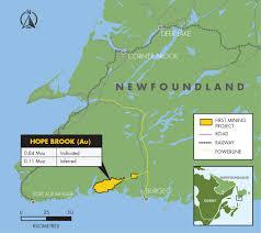 Newfoundland Map First Mining Finance Hope Brook Project