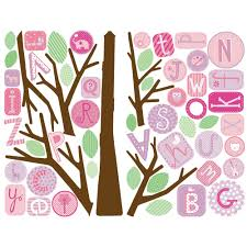 pink abc tree giant removable wall decals wall2wall pink abc tree giant removable wall decals