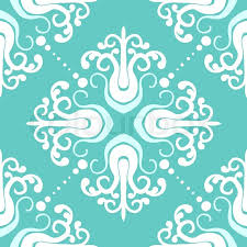damask wrapping paper ornamental vintage pattern with damask motifs in white and aqua