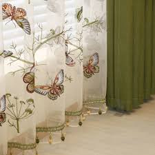 green butterfly embroidered sheer curtains