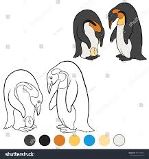 coloring pages mother father penguin look stock vector 477218335