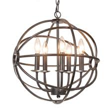 Great Chandeliers Com Benita 5 Light Antique Bronze Metal Strap Globe Chandelier