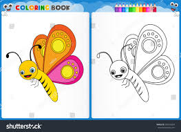 coloring page butterfly colorful sample printable stock vector