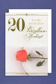 hochzeitstage jubilã en porzellan hochzeit 20 hochzeitstag grußkarte 16x11cm
