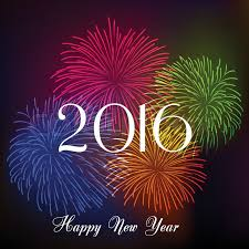 happy new year fireworks 2016 background design stock