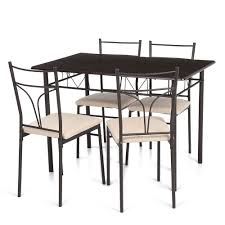 metal frame table and chairs ikayaa us fr stock 5pcs modern metal frame kitchen table chairs set