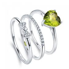 birthstone rings 1 35ct green peridot sterling silver stackable birthstone