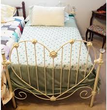 white iron heart shaped twin bed frame ebth