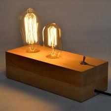 Edison Table Lamp Loft Vintage Industrial Table Light Edison Desk Log Wood Lamp