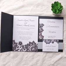 exqusite black printed lace pocket wedding invitation kits ewpi151