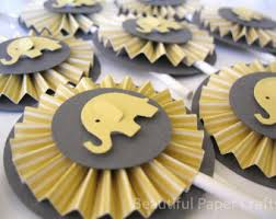 yellow and gray baby shower decorations rosa e grigio elefante cupcake toppers di beautifulpapercrafts