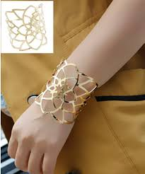 cuff bracelet gold plated images Fashion new gold plated wide hollow flower cuff bangles for women jpg