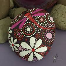 One Of A Kind Home Decor by Rock Art Dragonfly Art Hand Painted Stone Dot Art Painted Rock