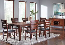 rooms to go dining room sets lake tahoe brown 7 pc rectangle dining room traditional