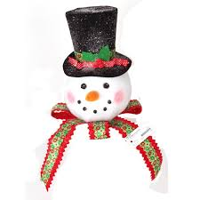 snowman with bow tree topper or table decoration