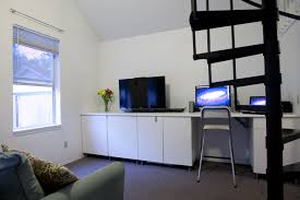 interior ikea studio apartment wooden cabinet stand tv computer