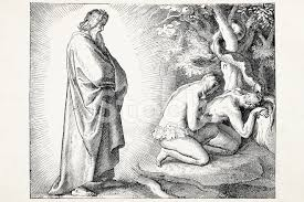 god discovering eve offering apple to adam stock photos