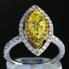 womens diamond rings 2 58 ct fancy yellow marquise cut womens diamond engagement ring