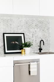 kitchen marble penny round mosaic tile splashback small marble