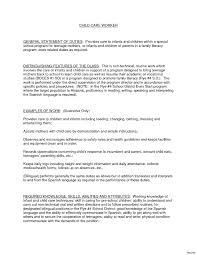 Sle Resume Of Child Caregiver Child Care Resume Skills For Provider Vesochieuxo