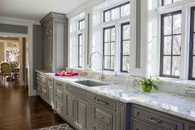 Gray Kitchen Cabinets Gray Kitchen Cabinets With Marble Window Sills Contemporary